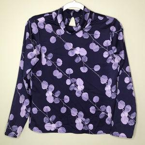 BANANA REPUBLIC long sleeve purple dress top PXS